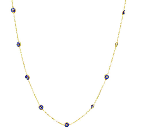This sterling silver gold plated necklace comes with 12 evil eye stones .