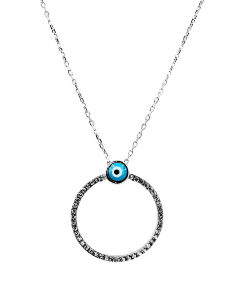 This sterling silver gold plated necklace comes with an evil eye ring pendant.