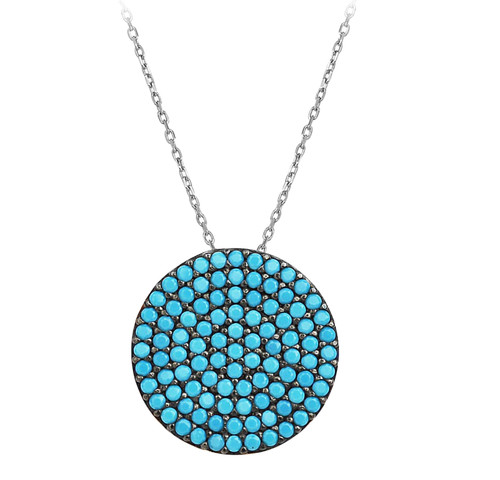 This sterling silver rhodium plated necklace comes with a turquoise evil eye disc pendant.