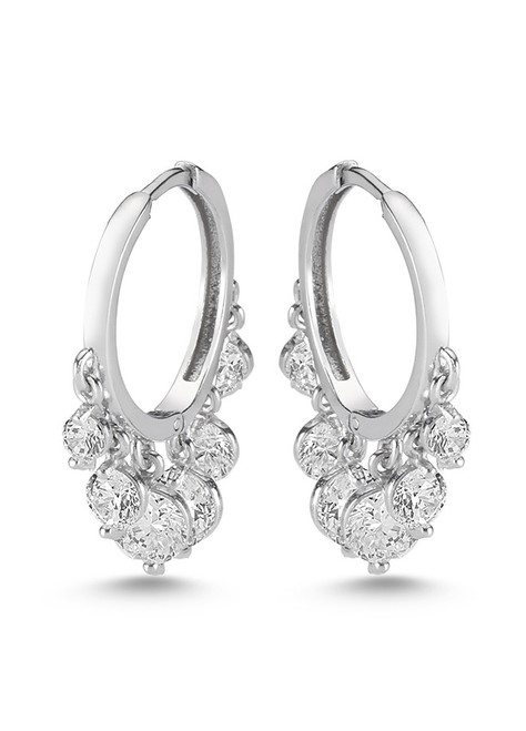These sterling silver hoop earrings come with 6 dangling cubic zirconia.