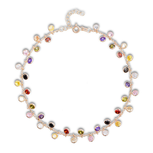 Rose gold multi color cubic zirconia charm anklet.