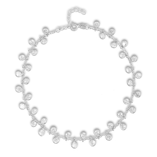 Rhodium plated sterling silver cubic zirconia charm anklet.