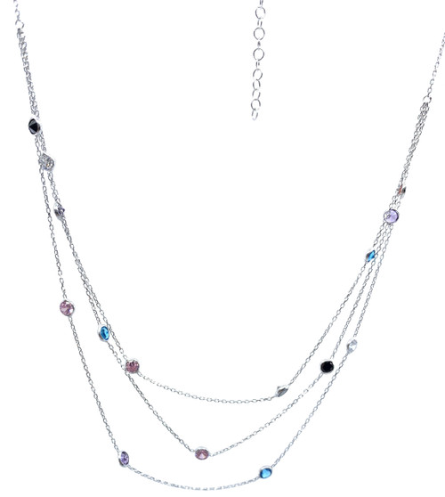 Necklace is made from 3 separate chains. First one is 16 inches, second one is 17 inches, third one is 18 inches. It has a 1 inch extender.
