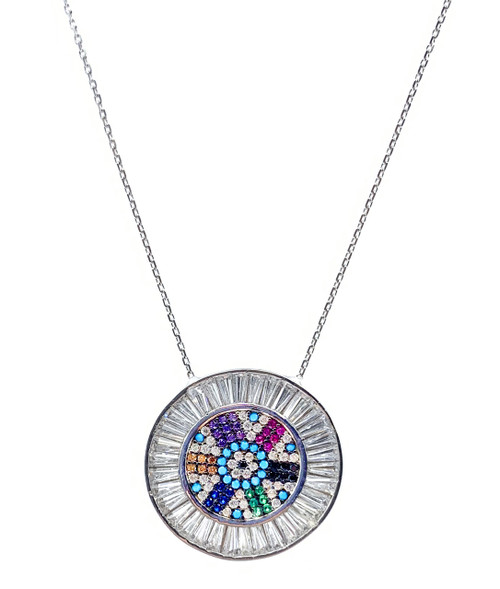 This sterling silver rhodium plated necklace comes with a round multi color cz disc pendant.