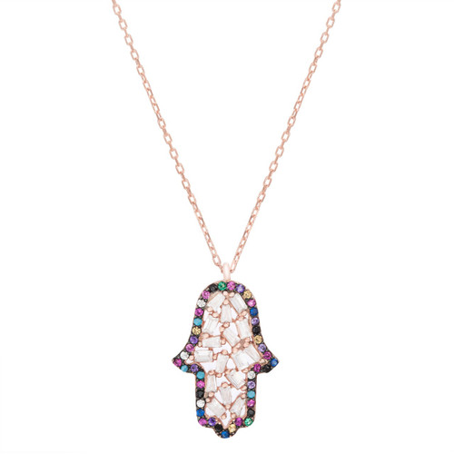 Sterling silver rose gold plated hasma hand cz baguette necklace.