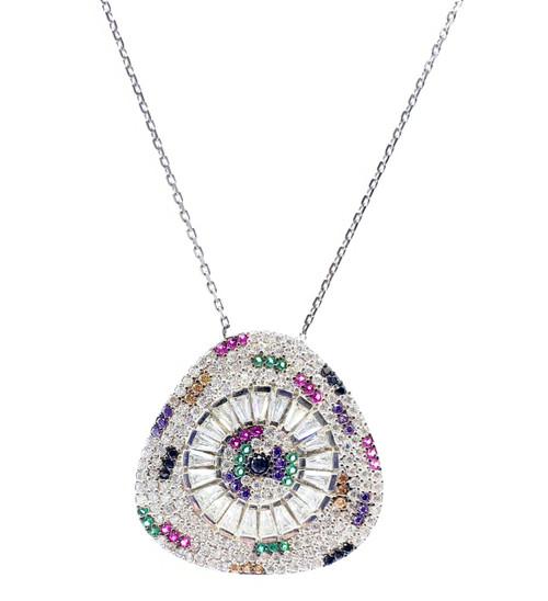 Sterling Silver Rhodium Plated Multi Color Triangle CZ Necklace