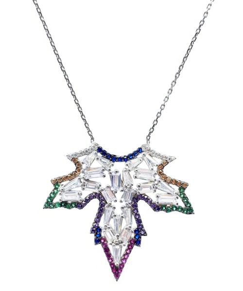 Sterling Silver Rhodium Plated Multi Color Leaf CZ Necklace.