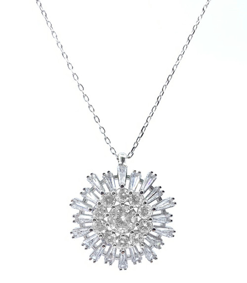 Sterling Silver Rhodium Plated Snowflake CZ Necklace.