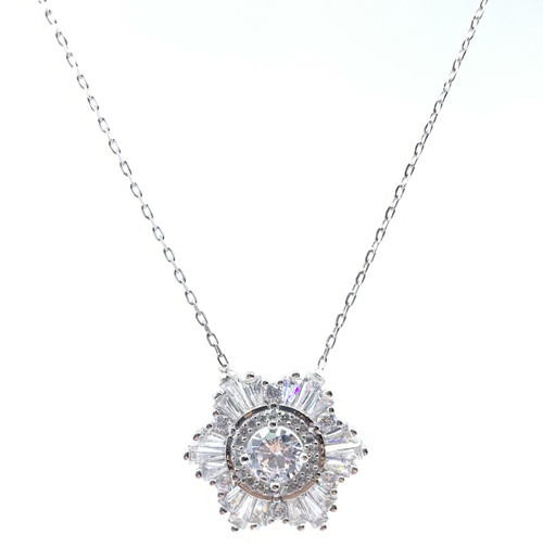 Sterling Silver Rhodium Plated Multi Color Star CZ Necklace 16+2