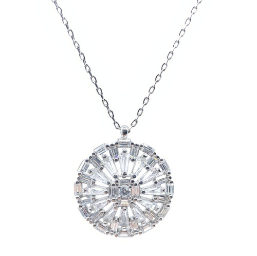 Sterling Silver Rhodium Plated Winter Snowflake CZ Necklace.