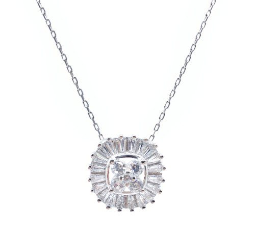 925 Sterling Silver Rhodium Plated Rounded Square CZ Baguette Necklace
