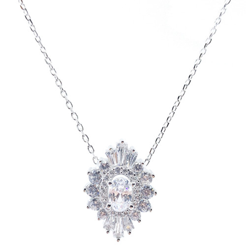 Solid Sterling Silver Oval White Cubic Zirconia Baguette Halo Radiance Necklace