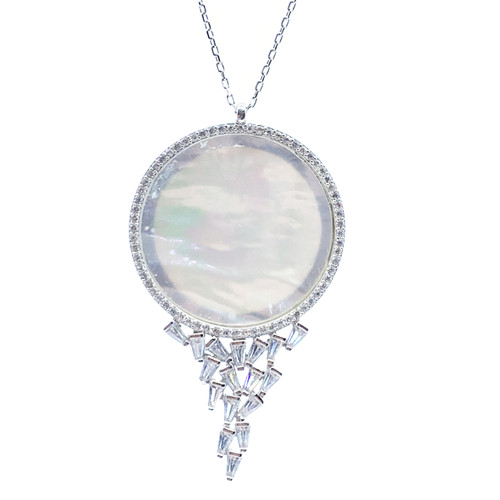 Sterling Silver Rhodium Plated Round Rainbow Moonstone Fire Opal Biwa Pearl Accent with Hanging Baguette Necklace