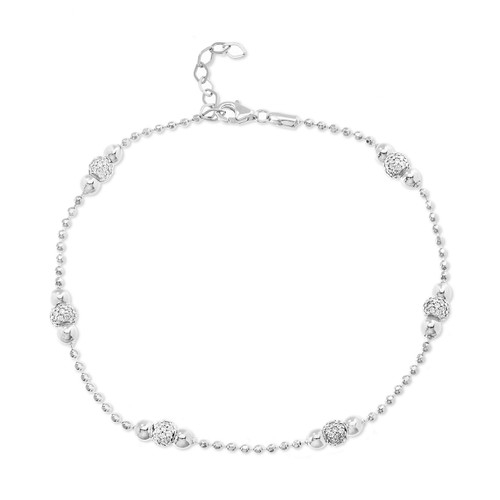 Sterling Silver beaded charm anklet for women.