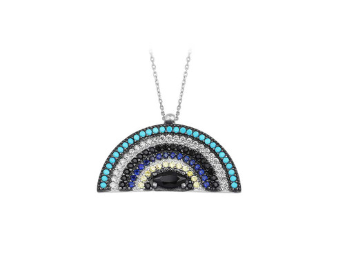 Sterling Silver Rhodium Plated Semi Sphere Half Circle Target Evil Eye Necklace