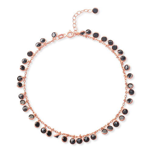 STERLING SILVER ROSE GOLD PLATED DANGLING BLACK CUBIC ZIRCONIA 925 STERLING SILVER ADJUSTABLE CHARM ANKLET