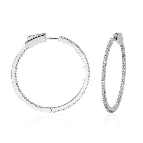 40MM INSIDE OUT RHODIUM  CZ HOOP EARRINGS