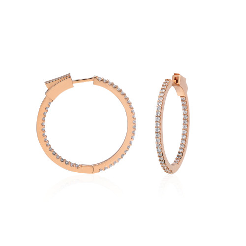 30MM INSIDE OUT ROSE GOLD PLATED CZ HOOP EARRINGS