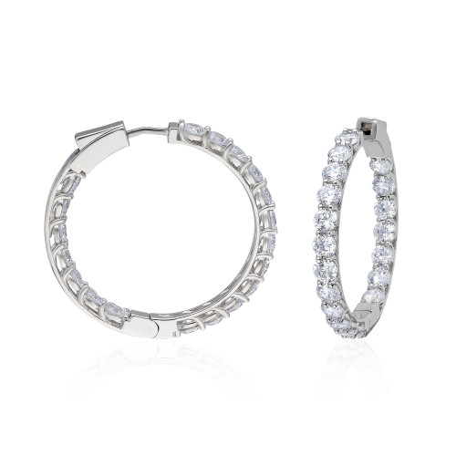 37MM INSIDE OUT PRONG SETTING RHODIUM  CZ HOOP EARRINGS