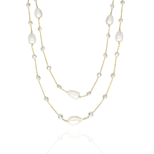 FRESH WATER DIAMOND AND PEARL BY THE YARD GOLD NECKLACE 36""