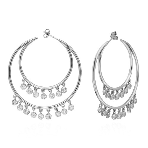 43MM RHODIUM CRESCENT SHAPED HOOP EARRINGS WITH DANGLING CZ