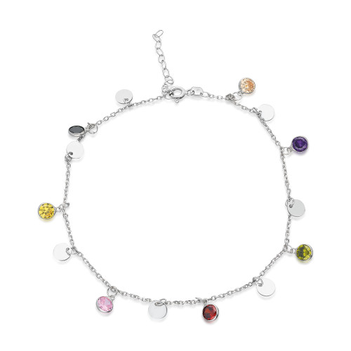 MULTI COLOR CZ AND DISC CHARM  ANKLET