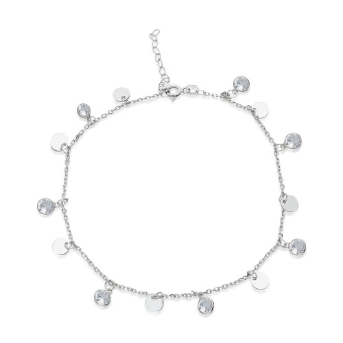 CZ AND DISC CHARM  ANKLET