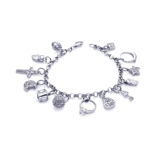 RHODIUM PLATED BRACELET WITH 12 DANGLING CZ CHARMS