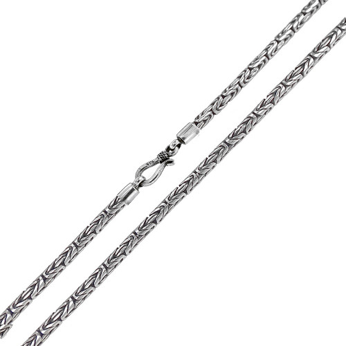 STERLING SILVER 2MM BALI BYZANTINE NECKLACE