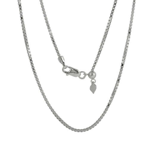RHODIUM PLATED ADJUSTABLE BOX SLIDER CHAIN