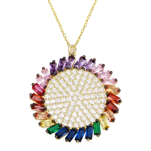 RHODIUM MULTI COLOR ROUND AND BAGUETTE CZ NECKLACE 16+2""