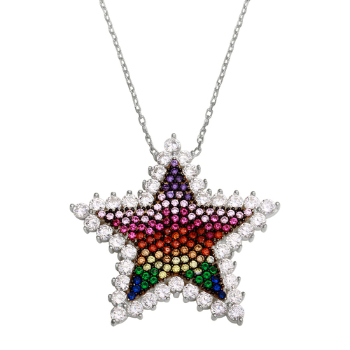 RHODIUM MULTI COLOR STAR CZ NECKLACE 16+2""