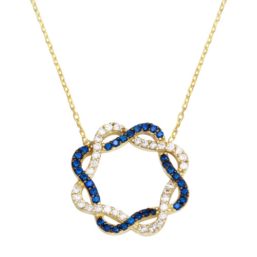 GOLD TWISTED SQUARE BLUE AND WHITE CZ NECKLACE 16+2""