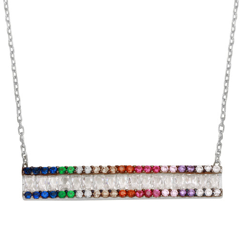 RHODIUM MULTI COLOR BAR CZ NECKLACE 16+2""