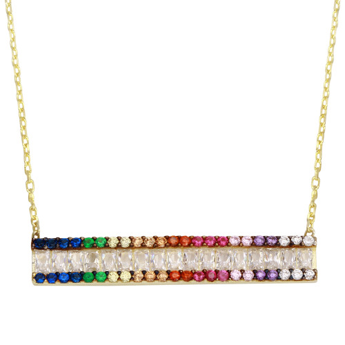 GOLD MULTI COLOR BAR CZ NECKLACE 16+2""