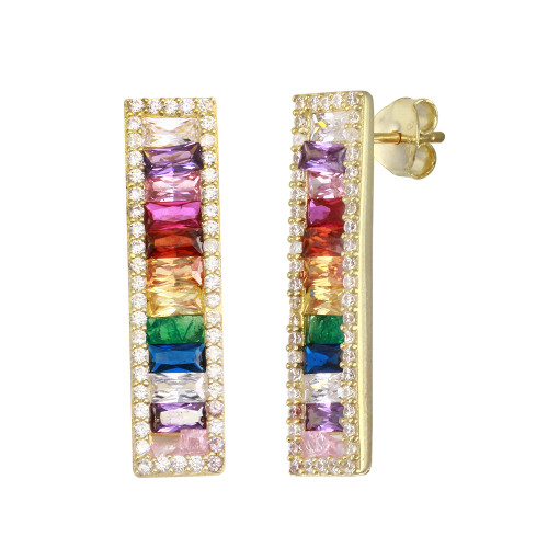 GOLD MULTI COLOR BAR EARRINGS