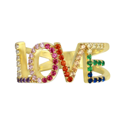 GOLD MULTI COLOR CZ LOVE RING