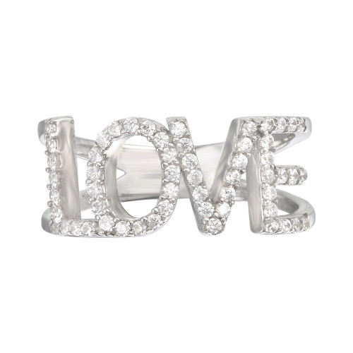 RHODIUM CZ LOVE RING