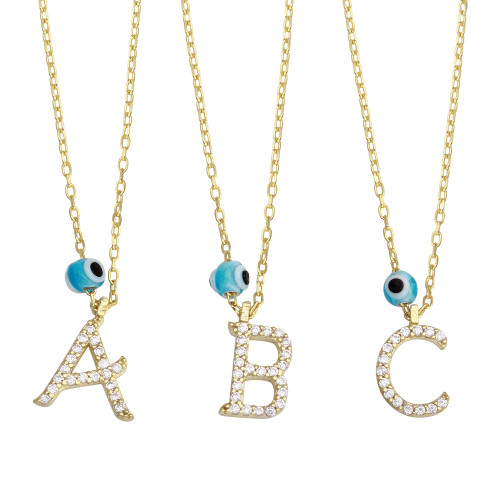 "GOLD PLATED EVIL EYE INITIALS NECKLACE 16"" + 2"""