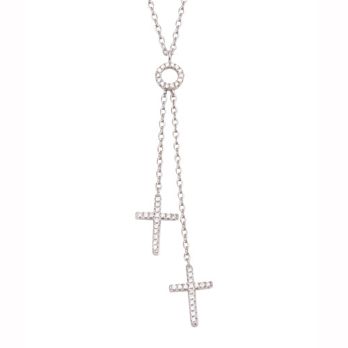 RHODIUM DOUBLE CROSS AND PAVE CZ CIRCLE LAYER NECKLACE 16+2""