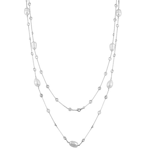 """RHODIUM  FRESH WATER PEARL AND DIAMOND 5MM CZ BY THE YARD NECKLACE 36"""""""
