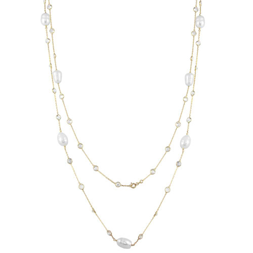 GOLD FRESH WATER PEARL AND DIAMOND 5MM CZ BY THE YARD NECKLACE 36""