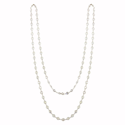RHODIUM 5MM  DIAMOND CZ BY THE YARD NECKLACE 36""