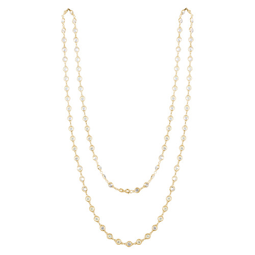 GOLD  5MM DIAMOND CZ BY THE YARD NECKLACE 36""
