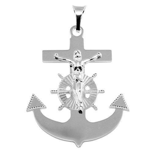 STERLING SILVER ANCHOR CROSS PENDANT