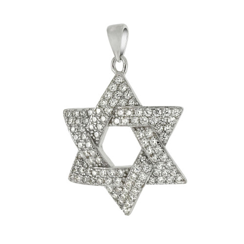 STERLING SILVER MICRO PAVE CZ STAR OF DAVID PENDANT