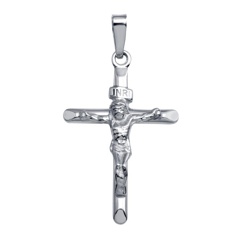 STERLING SILVER RHODIUM PLATED SMALL CRUCIFIX PENDANT