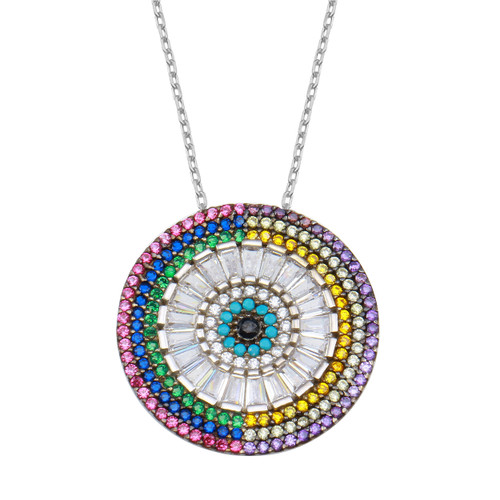 Ward off bad vibes with this multi color evil eye disc pendant necklace accented with cubic zirconia.