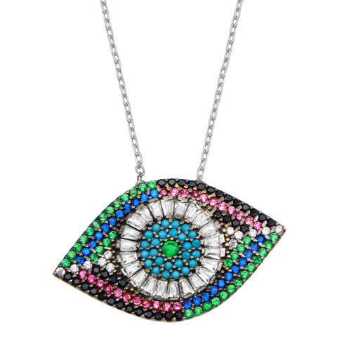 An age-old symbol of protection, this evil eye pendant necklace sparkles with baguettes and colorful round-cut cubic zirconia and turquoise stones.