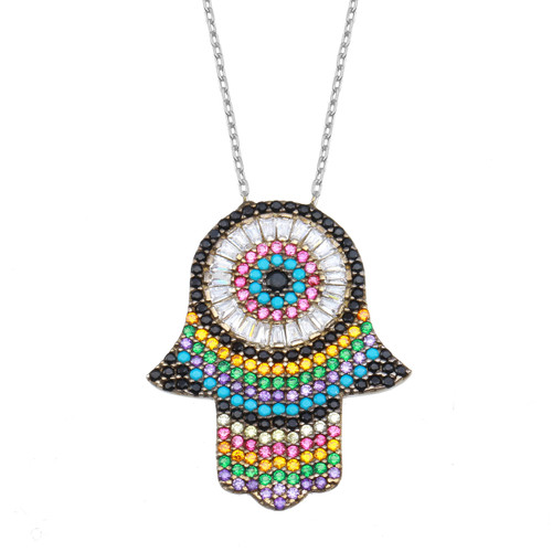 An age-old symbol of happiness and good fortune, this hamsa hand evil eye pendant necklace sparkles with baguettes and colorful round-cut cubic zirconias.